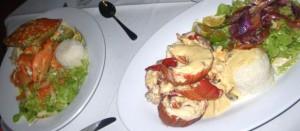 Krabbe und Hummerschwänze