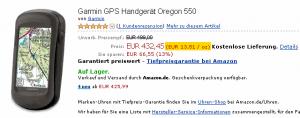 Oregon 550 nach Gewicht (C) Amazon.de